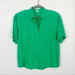 The Limited 100% Silk Green Oversize Camp Shirt S